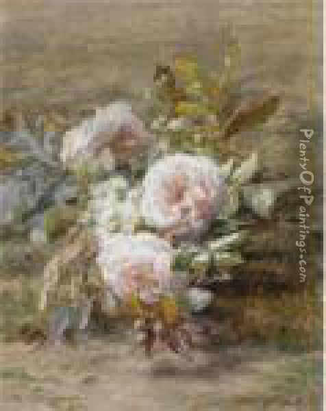 A Flower Still Life With Roses Oil Painting - Geraldine Jacoba Van De Sande Bakhuyzen