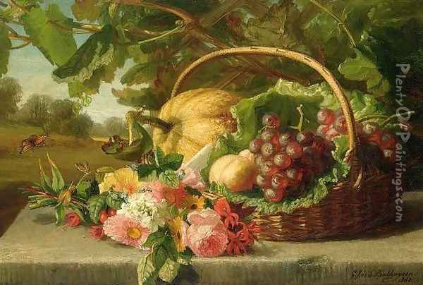 Still Life with Flowers, Grapes and a Melon Oil Painting - Geraldine Jacoba Van De Sande Bakhuyzen