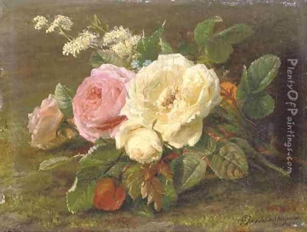 A bunch of pink and white roses Oil Painting - Geraldine Jacoba Van De Sande Bakhuyzen