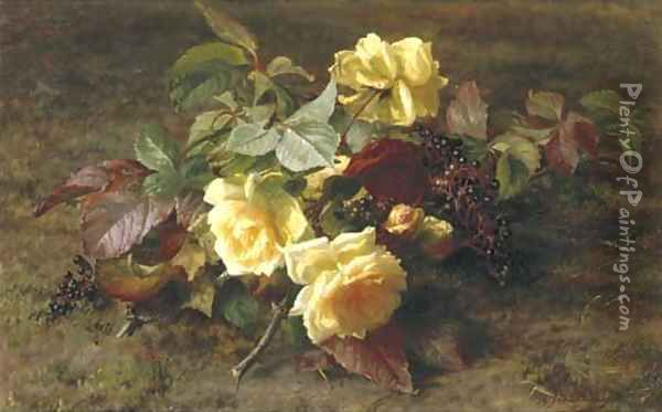 Yellow roses and elderberries on a forest floor Oil Painting - Geraldine Jacoba Van De Sande Bakhuyzen