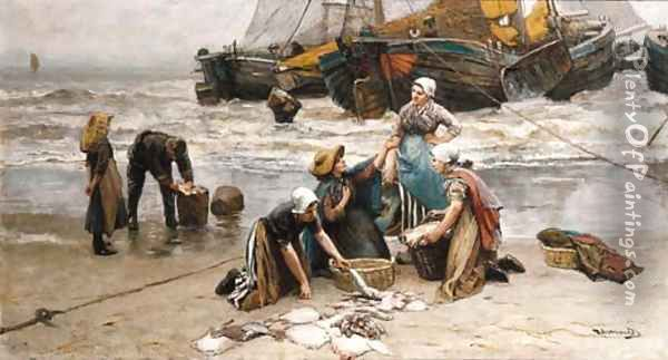 Sorting the catch 2 Oil Painting - Bernardus Johannes Blommers