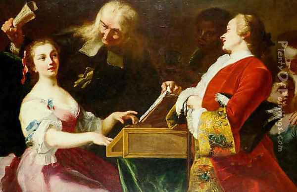 A Musical Party Oil Painting - Giuseppe Bonito
