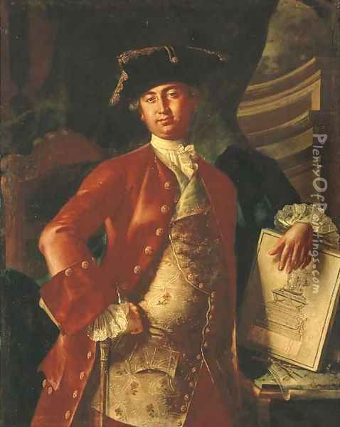 Portrait of a gentleman, three-quarter-length, in a red coat and embroidered waistcoat, holding a project for a monument Oil Painting - Giuseppe Bonito