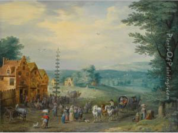 A Summer Landscape With Elegant  Travellers, A Horse-drawn Wagon, Near A Village With Peasants Dancing  Around A May-tree; A Winter Landscape With Travellers And A Horse-drawn  Cart, Near A Village With Figures Skating On A Frozen River Nearby Oil Painting - Karel Beschey