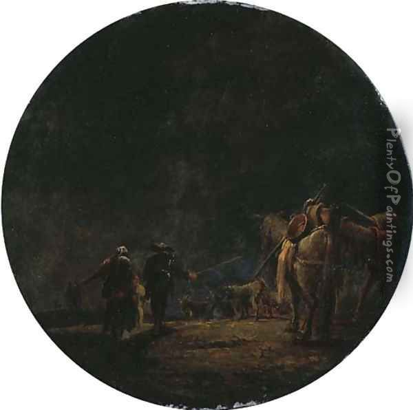 A moonlit landscape with travellers leading their pack mules, a resting goat herd beyond Oil Painting - Leonaert Bramer