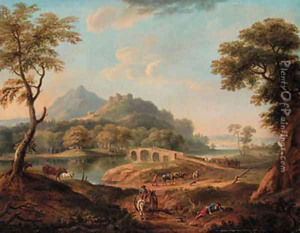 A wooded River Landscape, with figures by a bridge beneath a castle, a town beyond Oil Painting - Copplestone Warre Bamfylde