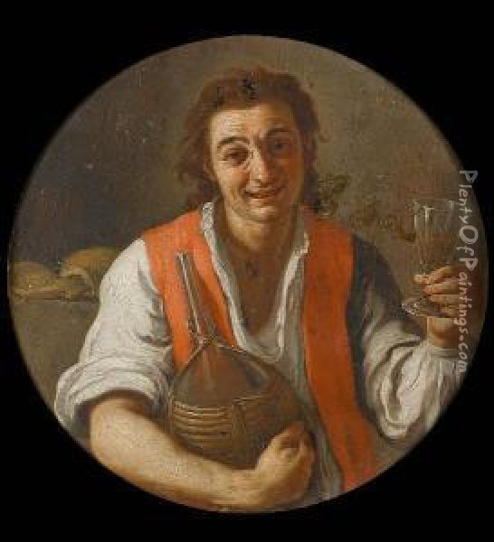A Peasant Man Holding A Carafe And A Glass Ofwine Oil Painting - Giuseppe Bonito