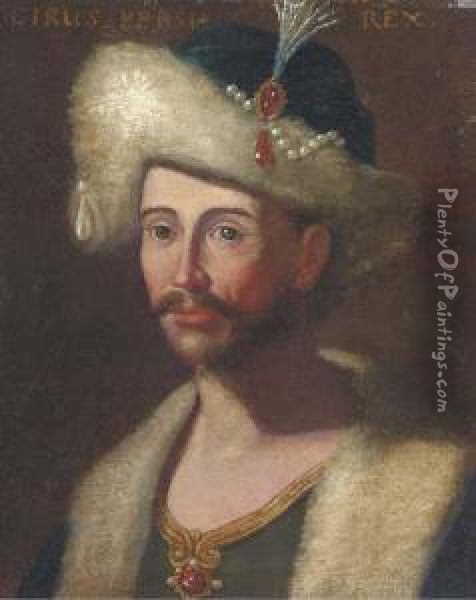 Portrait Of King Cyrus Of Persia, Bust-length In A Jewelledcap Oil Painting - Giuseppe Bonito