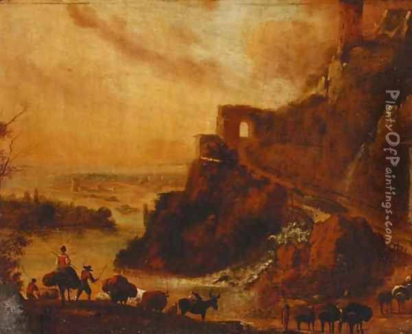 Drovers with cattle in a rocky Italianate landscape Oil Painting - Nicolaes Berchem