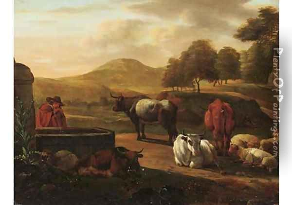 A shepherd drinking water from a fountain, cattle and sheep nearby, in a mountainous landscape Oil Painting - Nicolaes Berchem