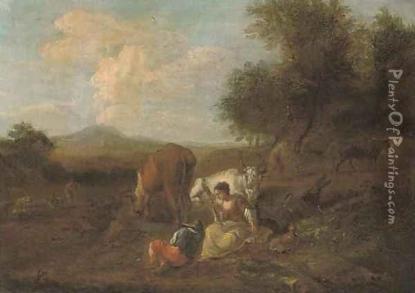 A wooded landscape with figures and cattle at rest, a ploughman beyond Oil Painting - Nicolaes Berchem