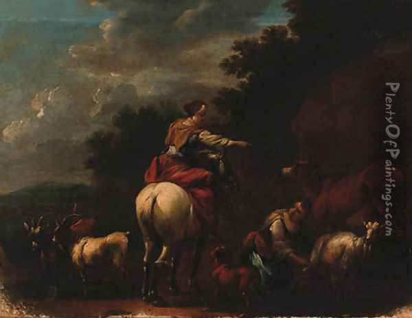 Drovers With Goats And A Cow In A Landscape Oil Painting - Nicolaes Berchem