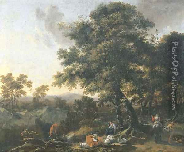 A wooded mountainous landscape with travellers and herdsmen on a track Oil Painting - Nicolaes Berchem
