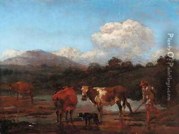 An Italianate landscape with herdsmen and cattle at a pool Oil Painting - Nicolaes Berchem