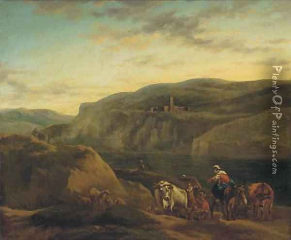 An Italianate landscape with shepherds and their flocks Oil Painting - Nicolaes Berchem