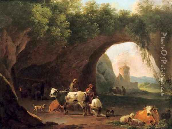 Peasants with their cattle and sheep by the entrance to a grotto Oil Painting - Nicolaes Berchem