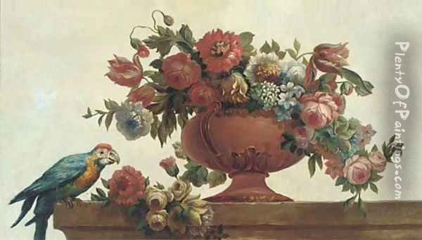 Roses, tulips, carnations, morning glory and other flowers in a vase with a parrot on a ledge Oil Painting - Jacob Bogdani