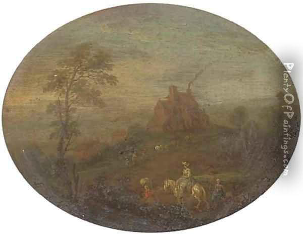 A wooded river landscape with travellers on a track; and A wooded river landscape with travellers on a track, a cottage beyond Oil Painting - Joseph van Bredael