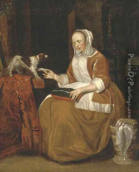 A lady seated in an interior, with a dog on a partly draped table Oil Painting - Gerard Ter Borch