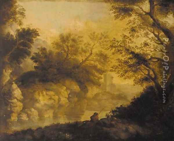 An angler in a wooded river landscape, a ruined castle beyond Oil Painting - John Butts
