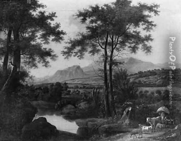 A herdsman on a track by a pond in an Italianate landscape, at sunset Oil Painting - Wilhelm Von Bemmel