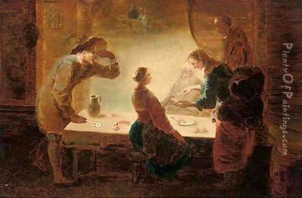 A fortune-teller reading a young girl's palm at a table, with three men watching Oil Painting - Leonaert Bramer