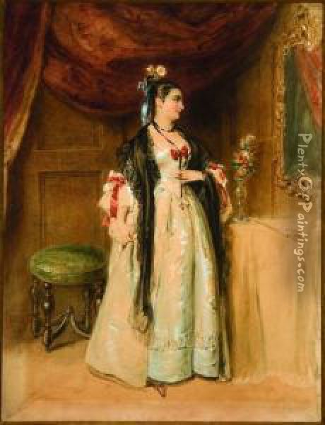A Woman Gazing Into A Mirror Oil Painting - Alfred-Edward Chalon