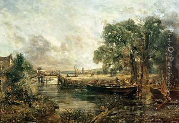 Sketch for 'View on the Stour, near Dedham' 1821-22 Oil Painting - John Constable