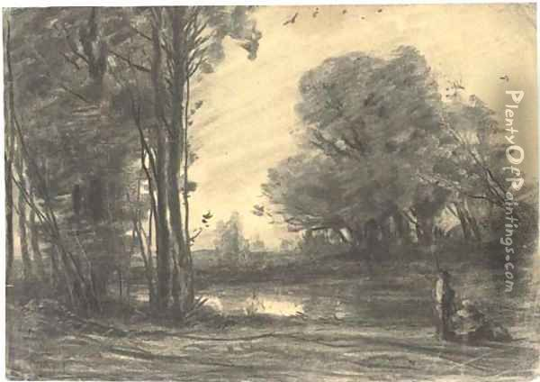 A wooded river landscape with a man by a pond Oil Painting - Jean-Baptiste-Camille Corot