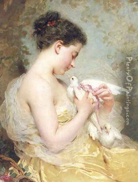 A Beauty With Doves Oil Painting - Charles Chaplin