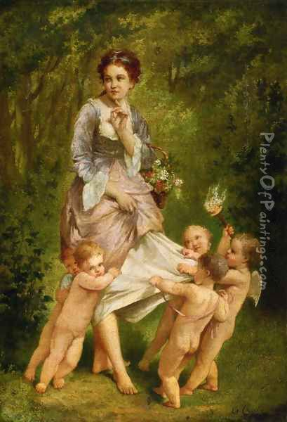 Venis with Putti Oil Painting - Charles Chaplin
