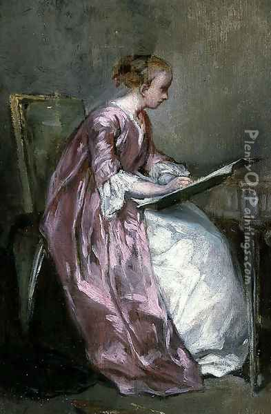 A Young Girl Drawing Oil Painting - Charles Chaplin