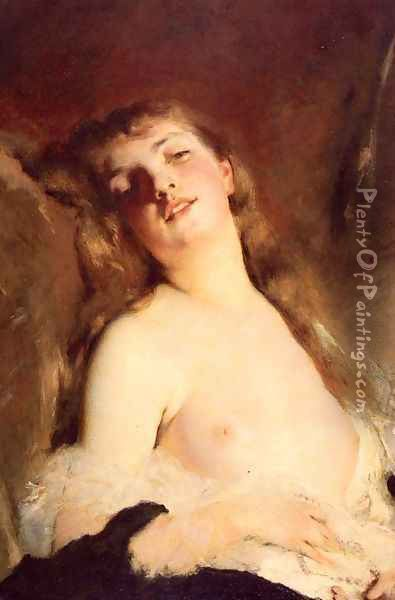 Portrait Of A Young Girl Oil Painting - Charles Chaplin