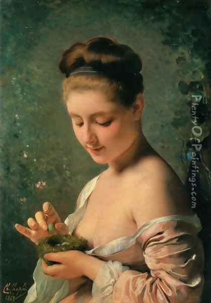 La ragazza col nido (Girl with a Nest) Oil Painting - Charles Chaplin