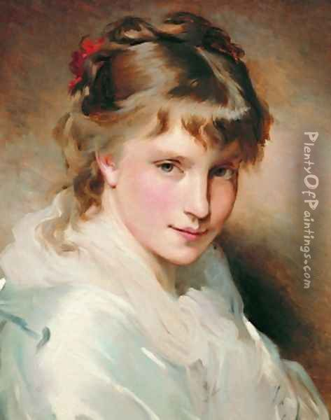 Portrait Of An Unknown Beauty Oil Painting - Charles Chaplin
