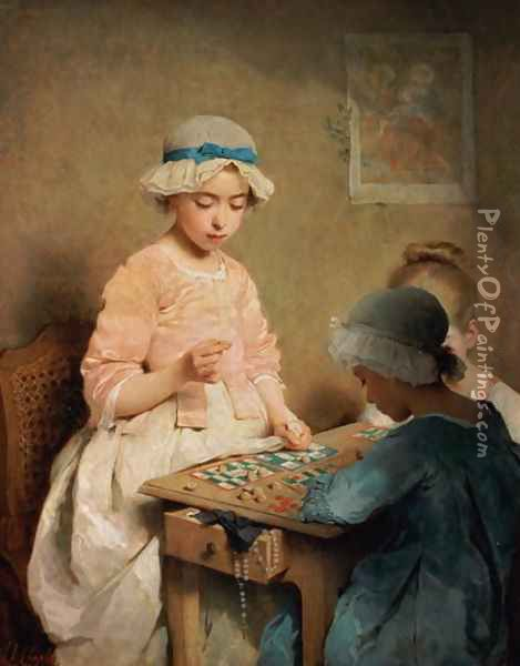 The Game of Lotto, 1865 Oil Painting - Charles Chaplin