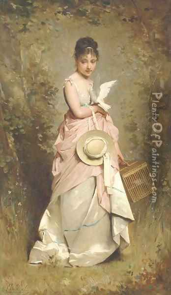 A young girl with a dove Oil Painting - Charles Chaplin