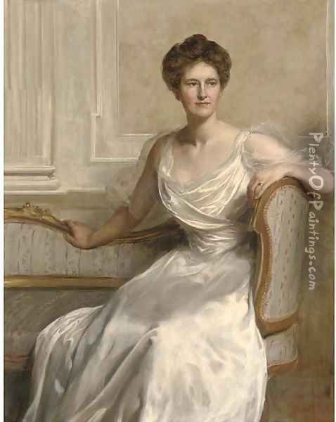 Portrait of Mary Frances Wilson, seated three-quarter-length, in a white dress, in an interior Oil Painting - John Maler Collier
