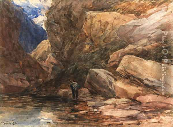 A hunter in a rocky river landscape Oil Painting - David Cox