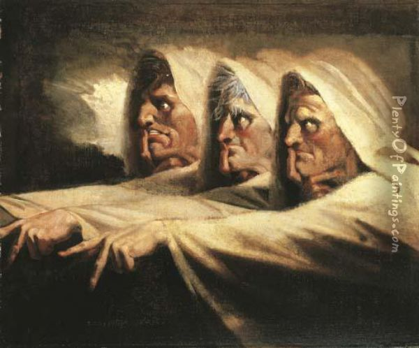 The Three Witches, Or The Weird Sisters Oil Painting - Johann Henry Fuseli