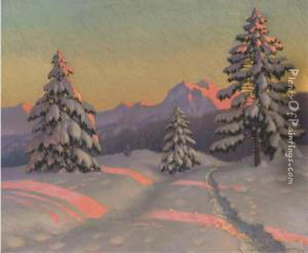 A Sunlit Track In The Snow Oil Painting - Mikhail Markianovich Germanshev