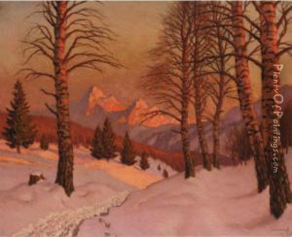 Sunset Over A Winter Landscape Oil Painting - Mikhail Markianovich Germanshev
