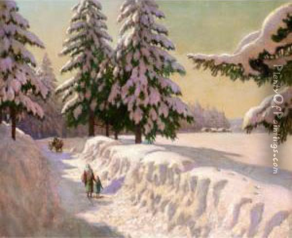 Landscape In Snow Oil Painting - Mikhail Markianovich Germanshev