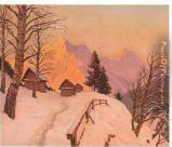 Dusk Over The Mountain Tops Oil Painting - Mikhail Markianovich Germanshev