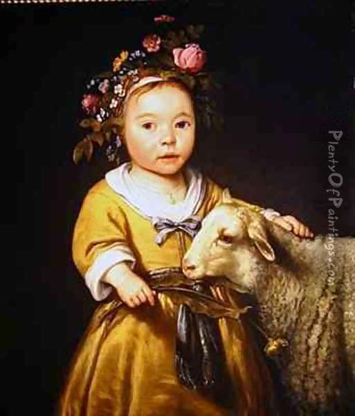 Portrait of a girl with a lamb Oil Painting - Aelbert Cuyp