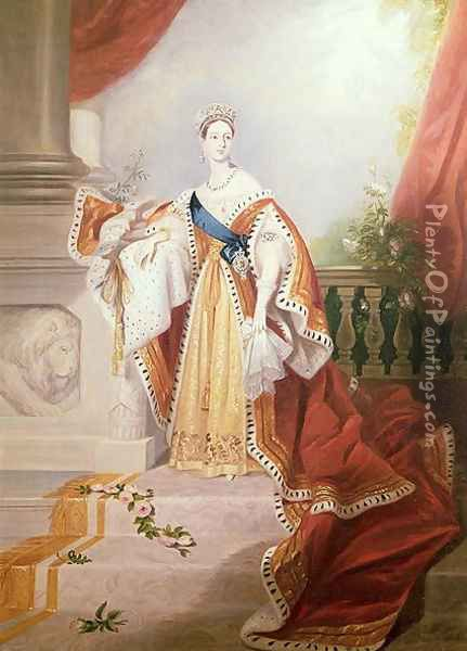 Portrait of Queen Victoria in Coronation Robes Oil Painting - Alfred-Edward Chalon