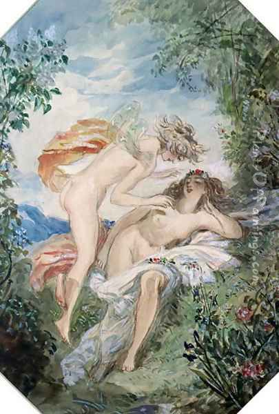 Flora and Zephyr Oil Painting - Alfred-Edward Chalon