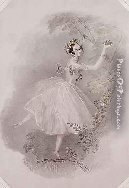 Marie Taglioni (1804-84) as the Sylph in 'La Sylphide', c.1832 Oil Painting - Alfred-Edward Chalon