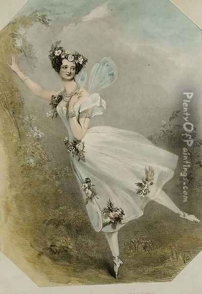 Marie Taglioni (1804-84) in 'Flore et Zephire', c.1830 Oil Painting - Alfred-Edward Chalon