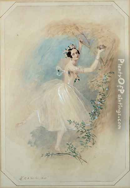 James, having deserted Effie, presents La Sylphide with a nest of a sister creature of the air. Oil Painting - Alfred-Edward Chalon